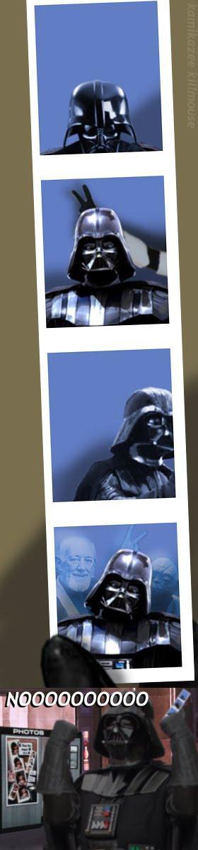 Suplicio de Vader con la foto para el documento intergaláctico de identidad